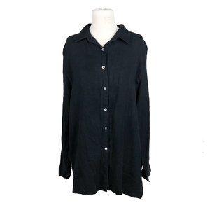Vtg Comfy USA Tunic 2X Linen Button Front Black